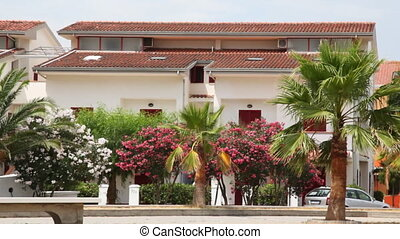 Hotel with palm trees and flowers swaying in breeze before it