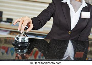 Hotel worker on reception - female receptionist worker...
