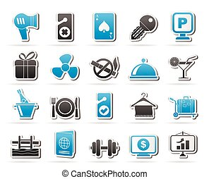 hotel, y, motel, servicios, iconos, 2