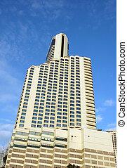 hotel, y, torre de la oficina