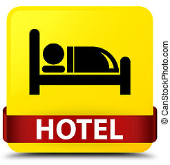 Hotel yellow square button red ribbon in middle