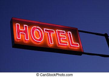 hotel, znak, oświetlany, w nocy