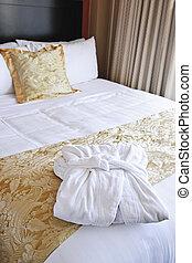 hotell, badkappa, säng