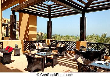 hotell, frilufts restaurang, alabama, ras, hav, lyxvara, synhåll, förenad arabiska emirat, khaimah, terrassera