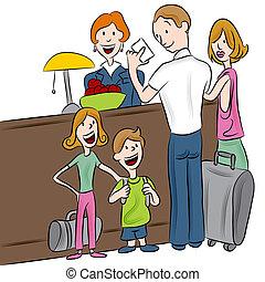 hotell, incheckningsdisk, familj