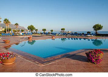 hotell, kreta, lyxvara, grekland, malia, slå samman, simning