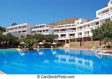 hotell, lyxvara, grekland, kreta, slå samman, simning