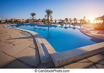 hotell, lyxvara, slå samman, simning