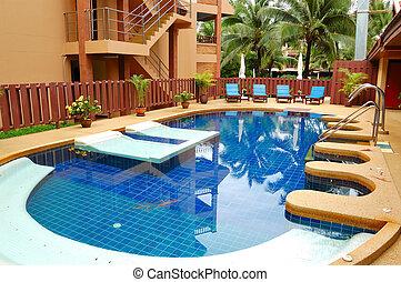 hotell, phuket, lyxvara, kurort, thailand, slå samman, simning
