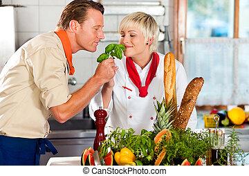 hotell, restaurang, kockar, matlagning, eller, kök