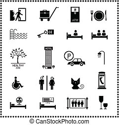 hotell, sätta, ikonen