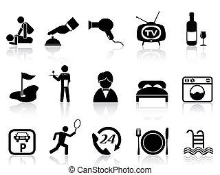 hotell, sätta, service, ikonen