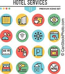hotell service, icons., nymodig, klen förfaringssätt, ikonen, set., premie, quality., skissera, symboler, grafisk, begreppen, kollektion, lägenhet fodra, icons., vektor, illustration