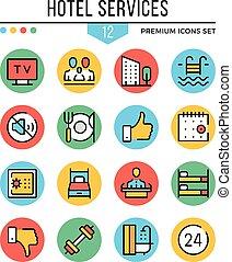 hotell service, icons., nymodig, klen förfaringssätt, ikonen, set., premie, quality., skissera, symboler, grafisk, elementara, kollektion, lägenhet fodra, icons., vektor, illustration