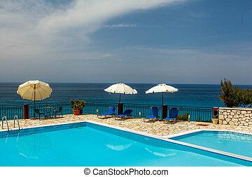 hotell, simning, lyxvara, slå samman, grekland
