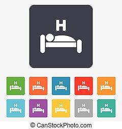 hotell, symbol., vila, underteckna, sliper, icon., place.