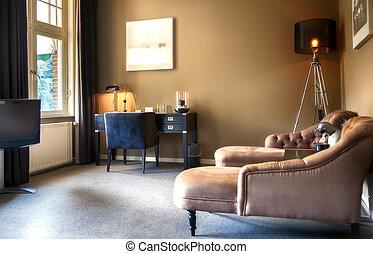 hotell, vardagsrum, rum
