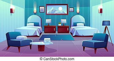 hotellrum, tecknad film, dubbel, inre
