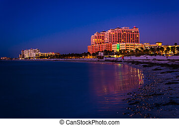 Hotels along the Gulf of Mexico at night in Clearwater...