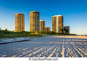 Hotels and condo towers on the beach in Singer Island, Florida.