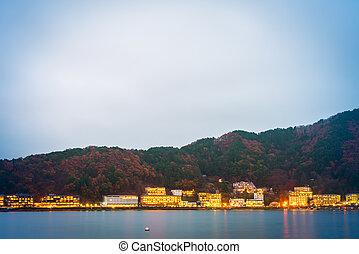 Hotels and resorts are surrounded lake kawaguchi