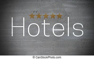 hotels, auf, betonwand, begriff, hintergrund