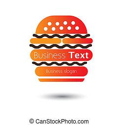 hotels-, jadło, kawiarnie, mocny, hamburger, wektor, ilustracja, ikona