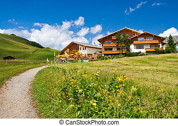 Hotels on a hill. Austrian mountains. Summer time