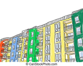 hotels - loose abstract style drawing of an apartment block...