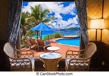hotelzimmer, und, sandstrand, landschaftsbild