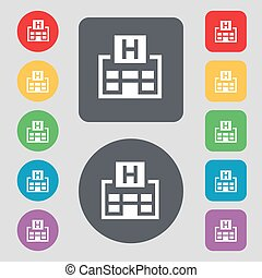 Hotkey icon sign. A set of 12 colored buttons. Flat design. Vector