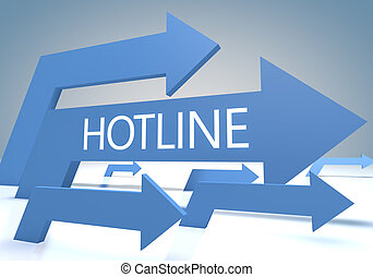 Hotline 3d render concept with blue arrows on a bluegrey ...