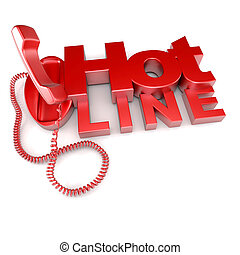 Hotline - 3D rendering of an unhooked red telephone with the...