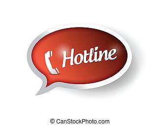 hotline concept message on a speech bubble. illustration...