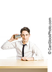 Hotline - conceptual photo of man with tin phone simulating...