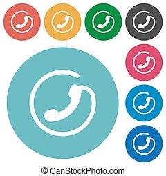 Hotline flat round icons