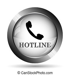 Hotline icon. Hotline website button on white background.