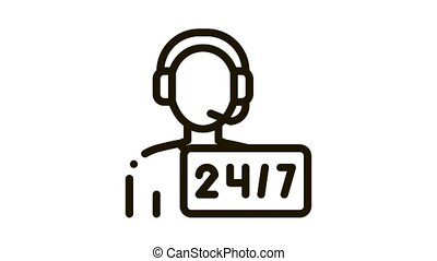 Hotline Man Support Postal Transportation Company animated black icon on white background
