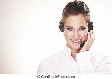 Hotline operator - Nice hotline operator with headset - on...