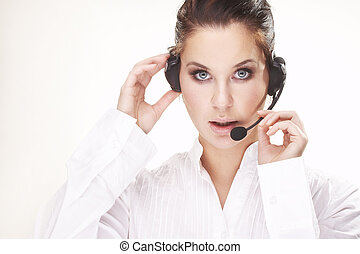 Hotline operator - Nice hotline operator with headset - on...