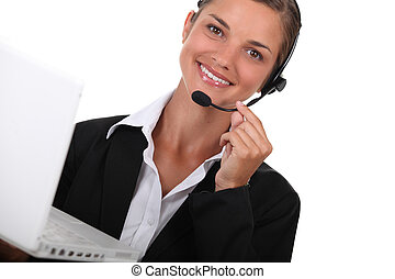 hotline operator with a computer