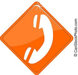 Orange sign with hotline icon