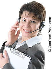 hotline - Call center woman with headset