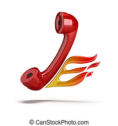 Red tube coming out of the phone with her flames. 3d image. Isolated white background.