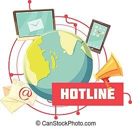 Hotline Retro Cartoon Design - Hotline retro cartoon design...
