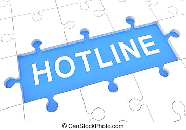 Hotline - puzzle 3d render illustration with word on blue...