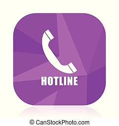Hotline violet square vector web icon. Internet design and webdesign button in eps 10. Mobile application sign on white background.