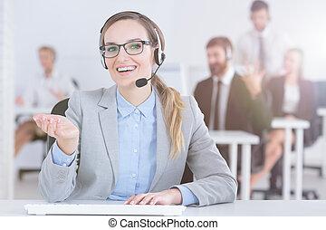 Hotline woman in office