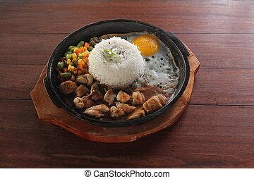 hotplate, arroz, pollo, pimienta, huevo