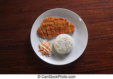 hotplate, katsu, arroz, pollo, homade